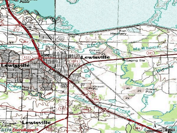 Zip code 75057 topographic map