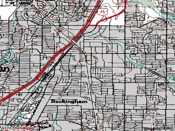 Zip code 75081 topographic map
