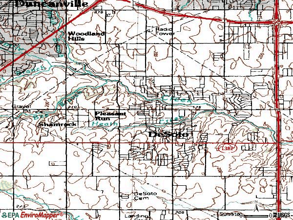 Zip code 75115 topographic map