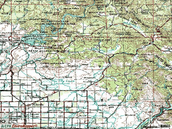Zip code 93611 topographic map