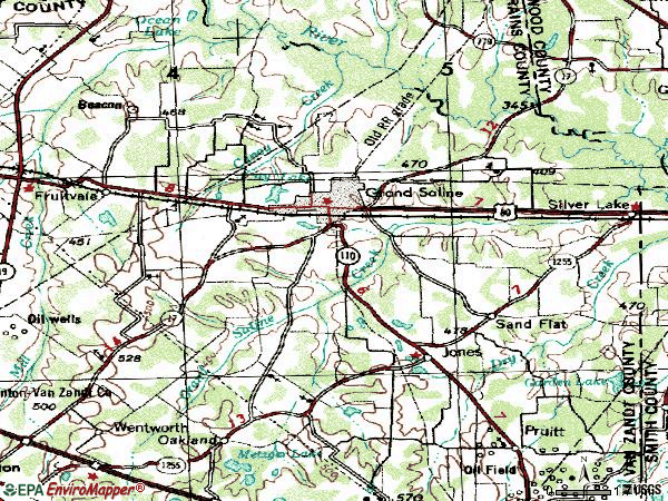 Zip code 75140 topographic map