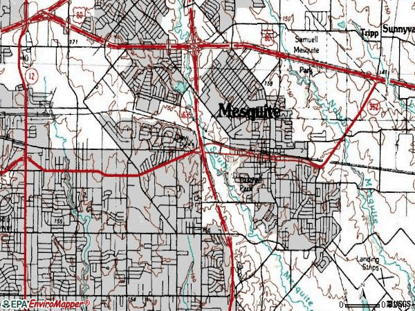 Zip code 75149 topographic map