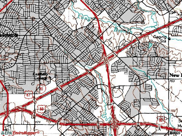 Zip code 75150 topographic map