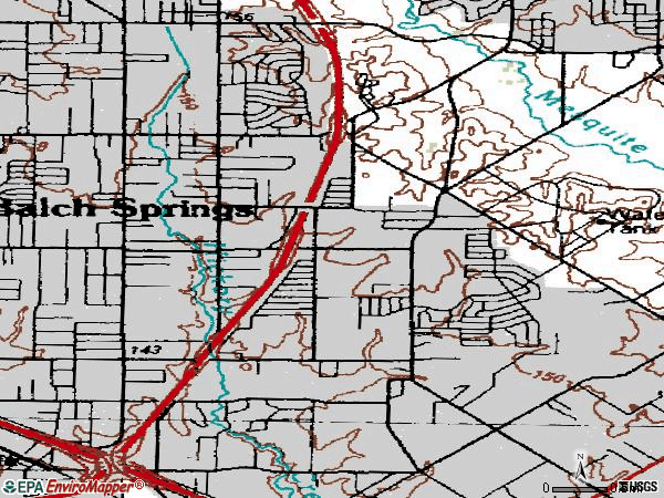 Zip code 75180 topographic map