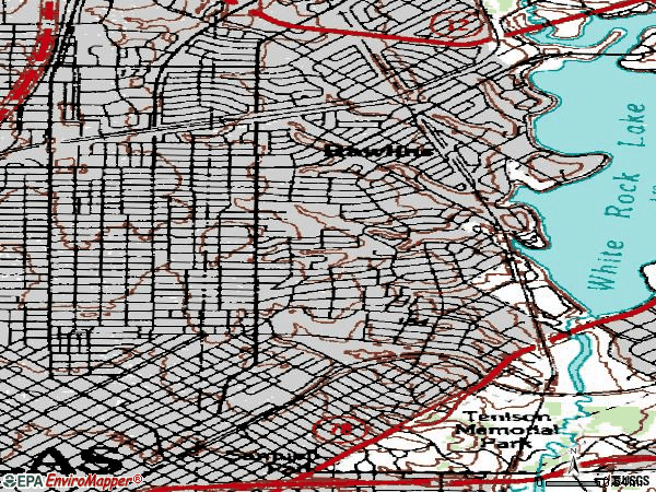 Zip code 75214 topographic map