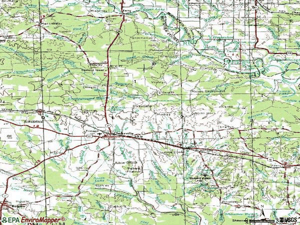 Zip code 75426 topographic map