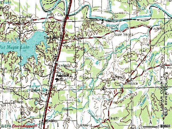 Zip code 75473 topographic map