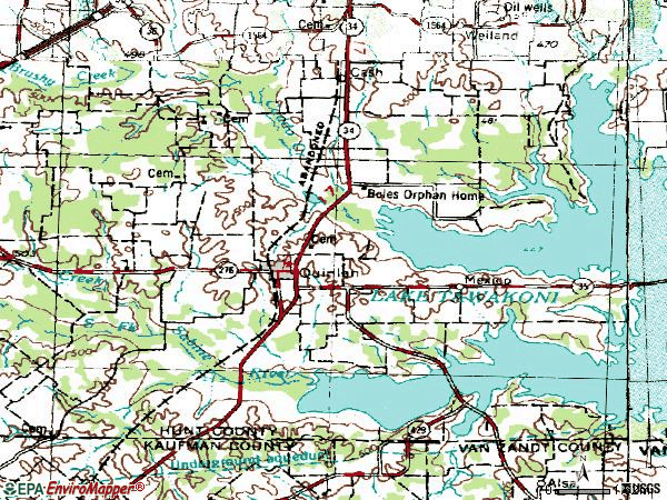 Zip code 75474 topographic map