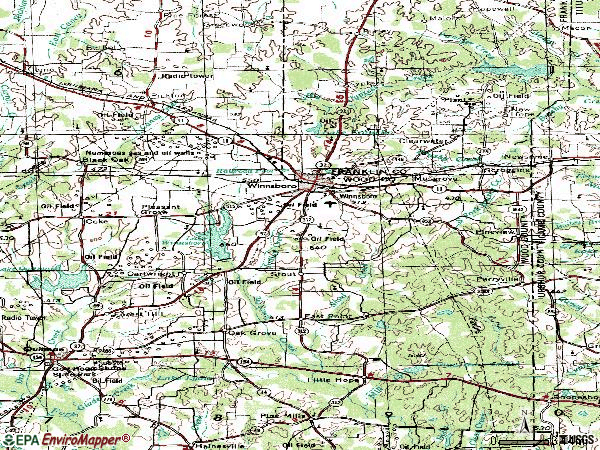 Zip code 75494 topographic map