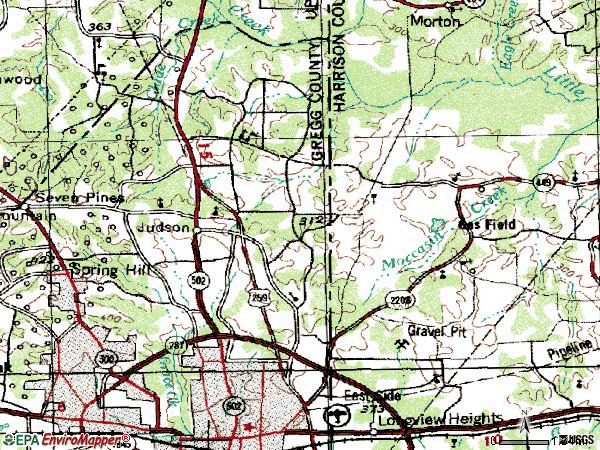Zip code 75605 topographic map