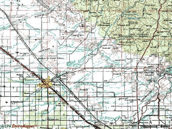 Zip code 93638 topographic map