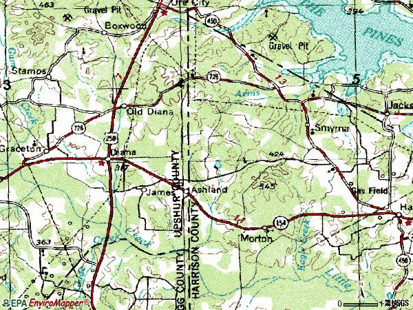 Zip code 75640 topographic map