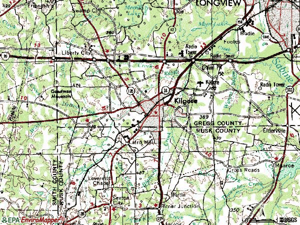 Zip code 75662 topographic map