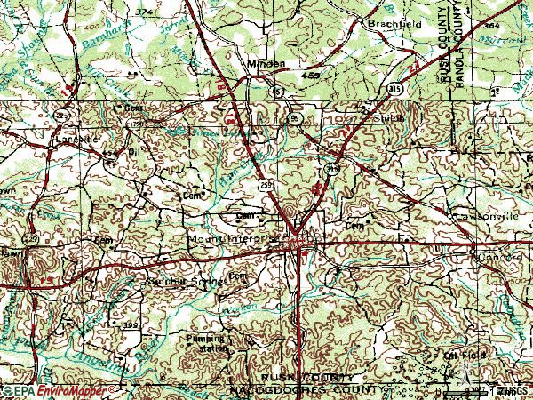 Zip code 75681 topographic map