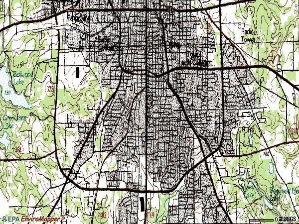 Zip code 75701 topographic map