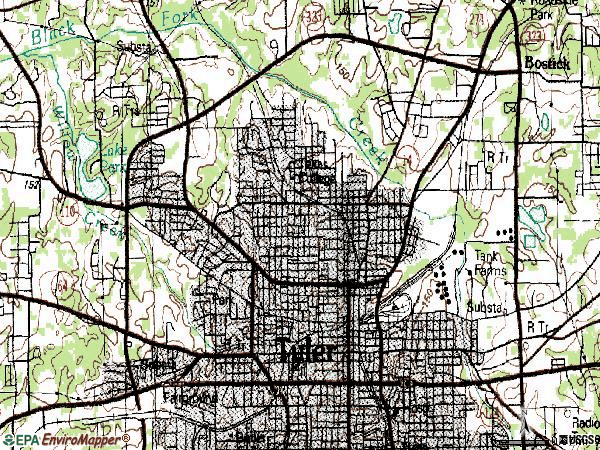 Zip code 75702 topographic map