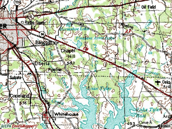 Zip code 75707 topographic map