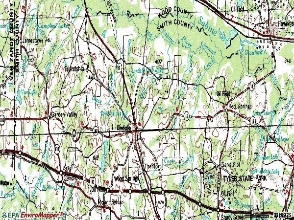 Zip code 75771 topographic map