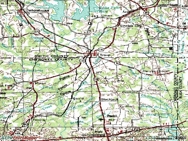Zip code 75789 topographic map