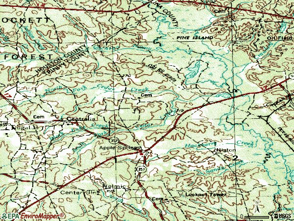 Zip code 75926 topographic map