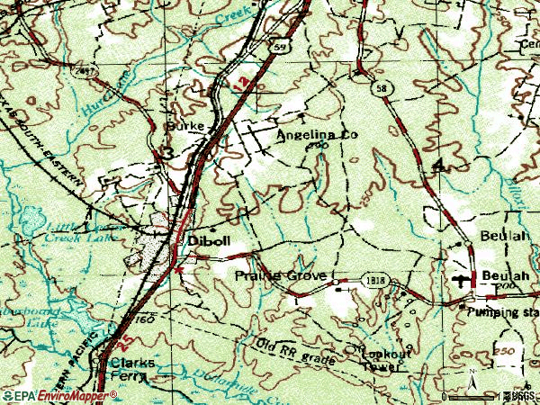 Zip code 75941 topographic map