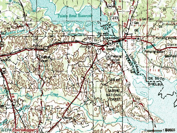 Zip code 75954 topographic map