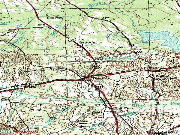 Zip code 75974 topographic map