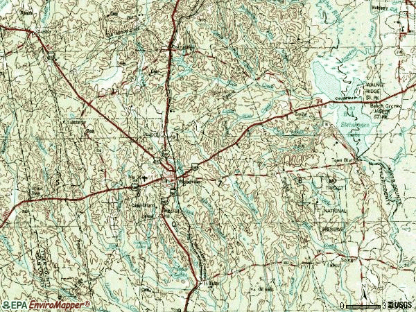 Zip code 75979 topographic map