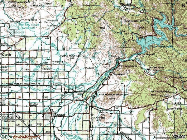 Zip code 93657 topographic map