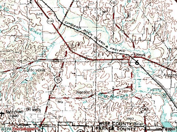 Zip code 76023 topographic map