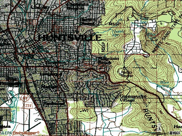 Zip code 35801 topographic map