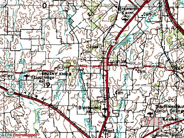 Zip code 76058 topographic map