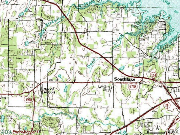 Zip code 76092 topographic map