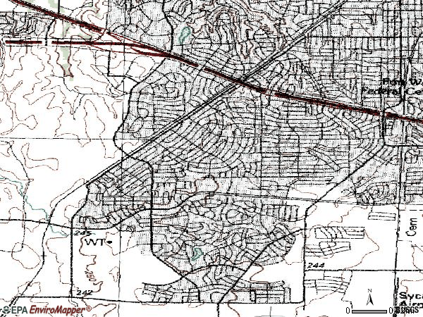 Zip code 76133 topographic map