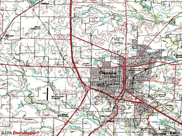 Zip code 76207 topographic map