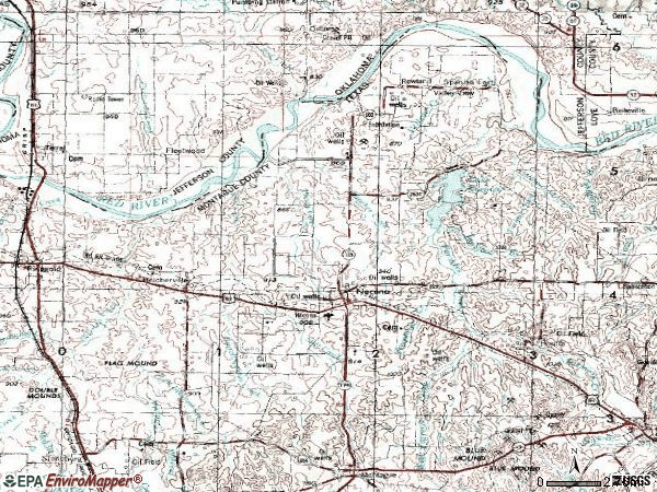 Zip code 76255 topographic map