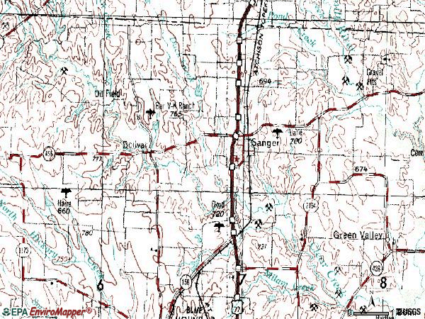 Zip code 76266 topographic map