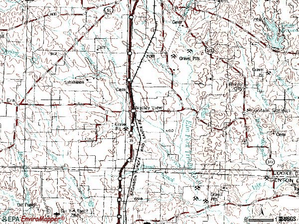 Zip code 76272 topographic map