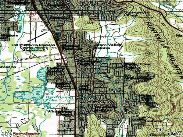 Zip code 35802 topographic map