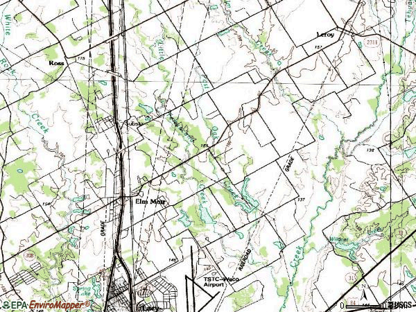 Zip code 76640 topographic map