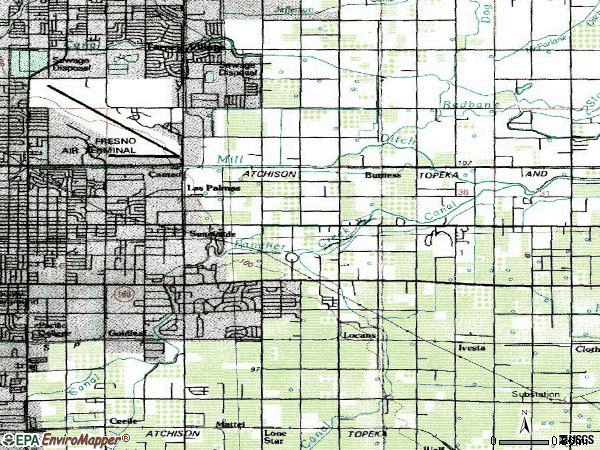 Zip code 93727 topographic map