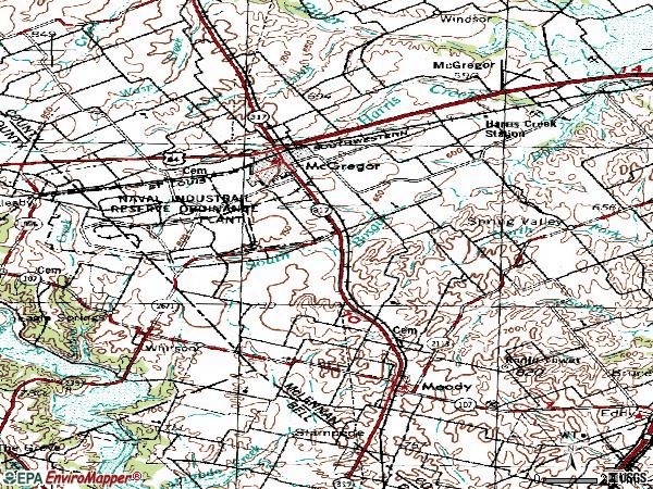Zip code 76657 topographic map