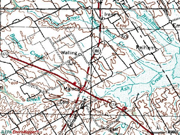 Zip code 76660 topographic map