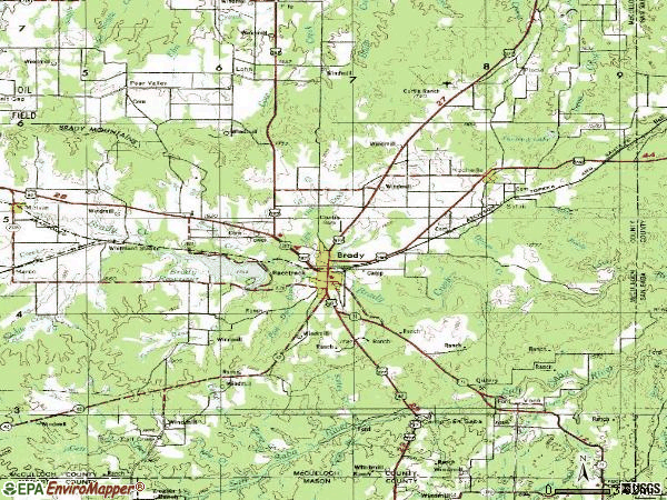 Zip code 76825 topographic map
