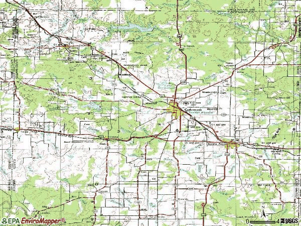 Zip code 76834 topographic map