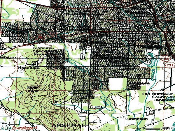 Zip code 35805 topographic map