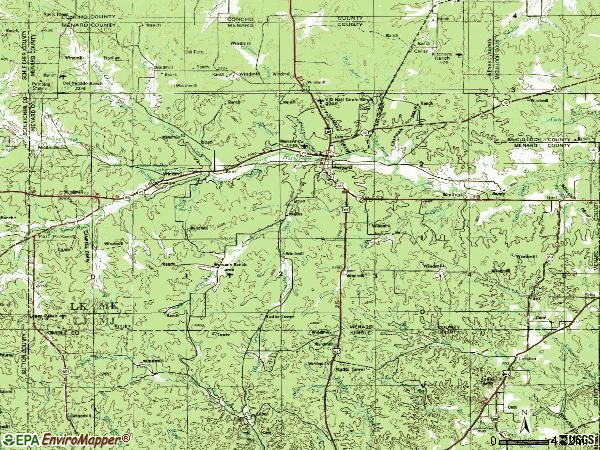 Zip code 76859 topographic map