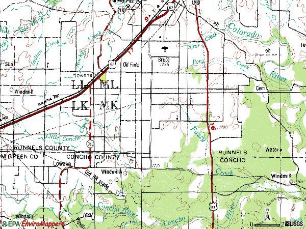 Zip code 76875 topographic map