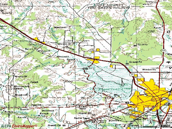 Zip code 76901 topographic map