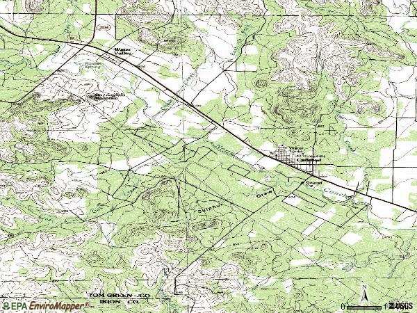 Zip code 76934 topographic map